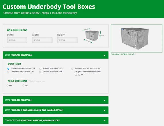 Custom Underbody Tool Box Form